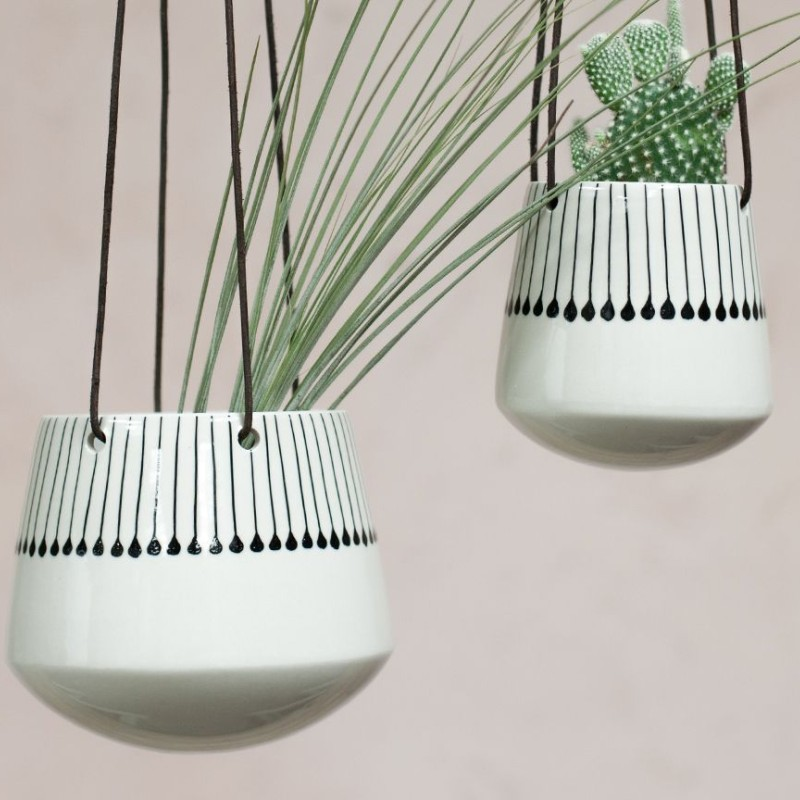 Matamba Ceramic Hanging Planter - Black Matchsticks