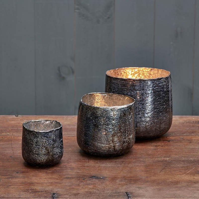 Aban Rustic T-Light - Rustic Charcoal