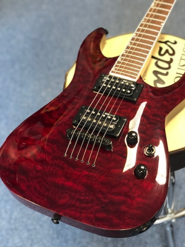 LTD MH-200QM electric guitar in see through cherry