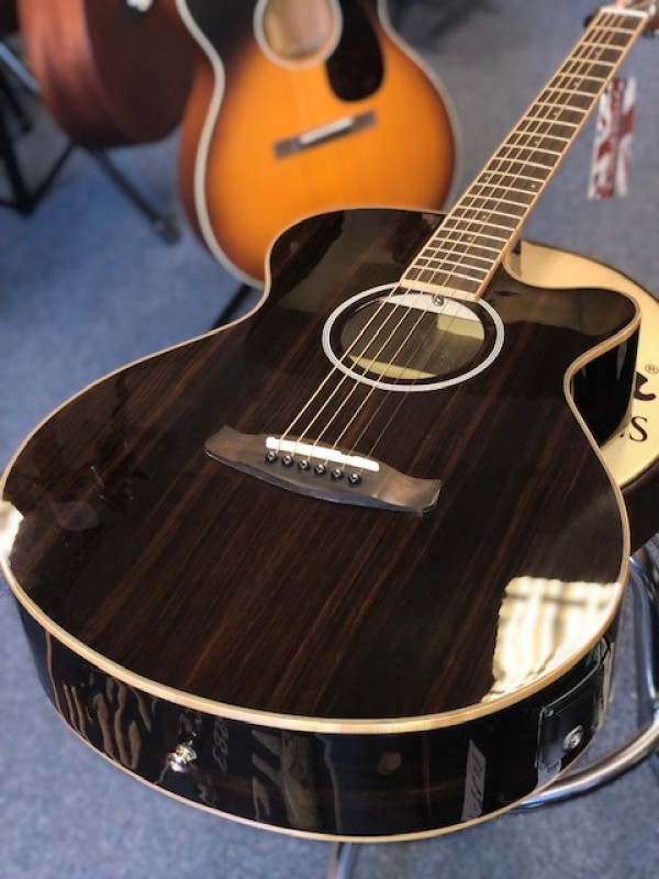 TANGLEWOOD DISCOVERY EXOTIC SUPER FOLK ALL EXOTIC EBONY GLOSS SSP DBT DLX SFCE EB