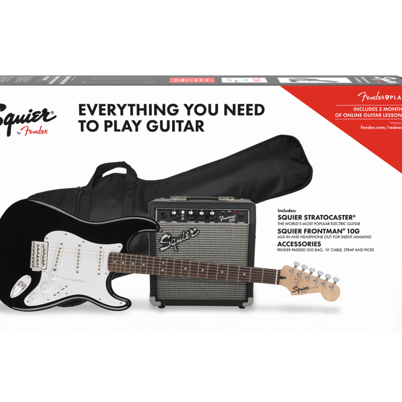 Squier Strat Pack w/ 10w Amp Black