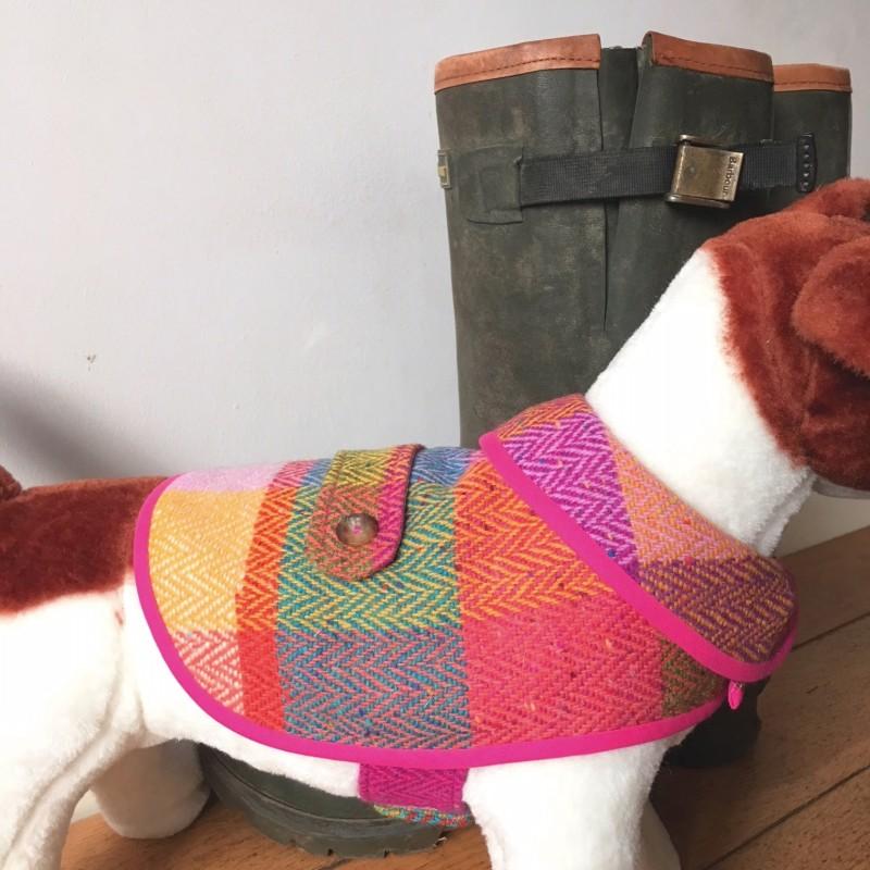 Small Bright Check Tweed Waterproof Dog Coat