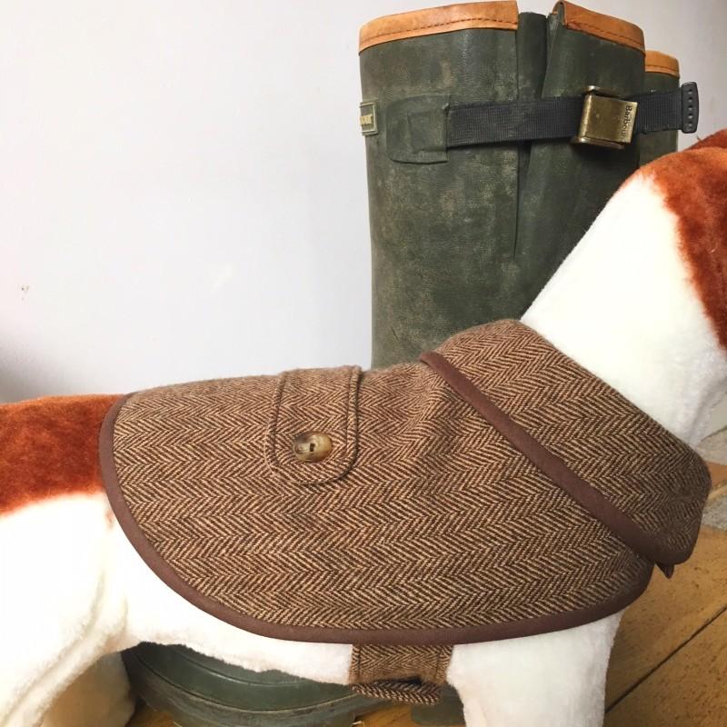 Small Brown Herringbone Tweed Waterproof Dog Coat