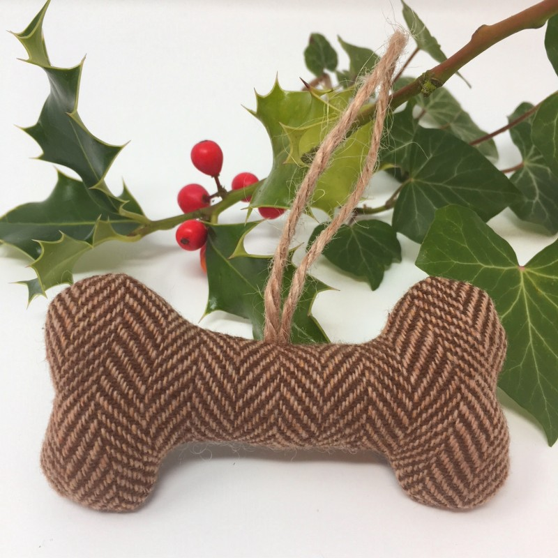 Brown Tweed Bone Christmas Tree Hanging Decoration