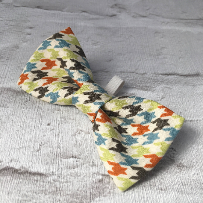 Bright Houndstooth Check Dog Bow Tie