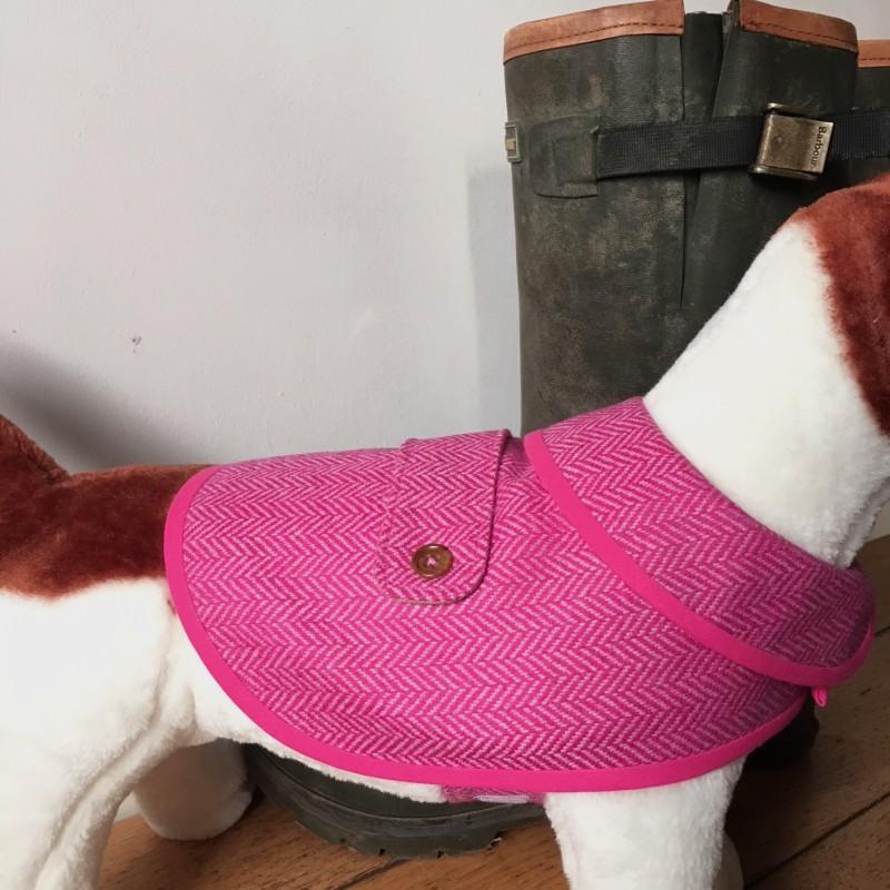 Small Pink Herringbone Tweed Waterproof Dog Coat