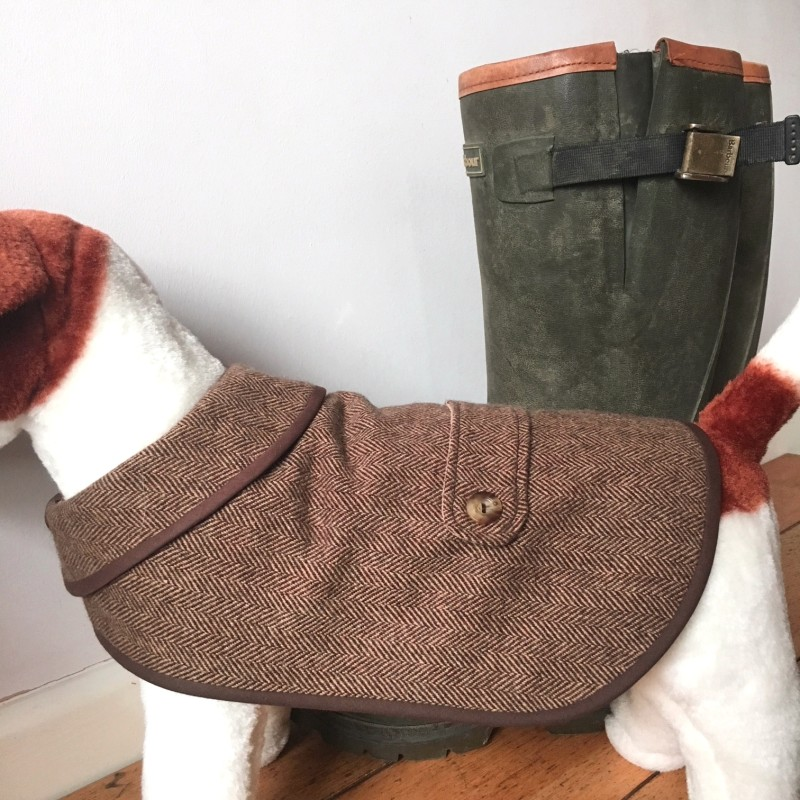 Large Brown Herringbone Tweed Waterproof Dog Coat