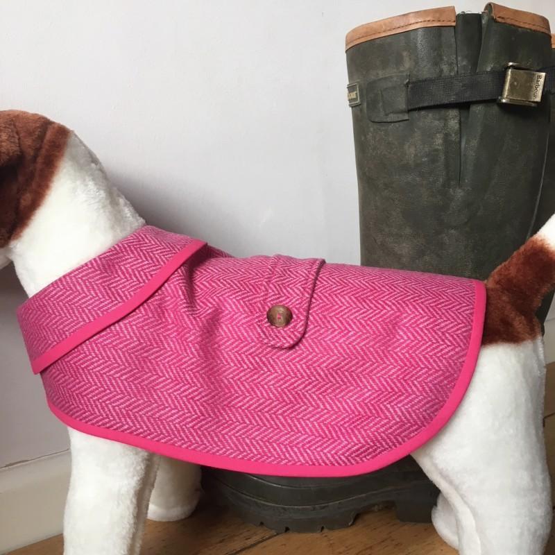 Medium Pink Herringbone Tweed Waterproof Dog Coat