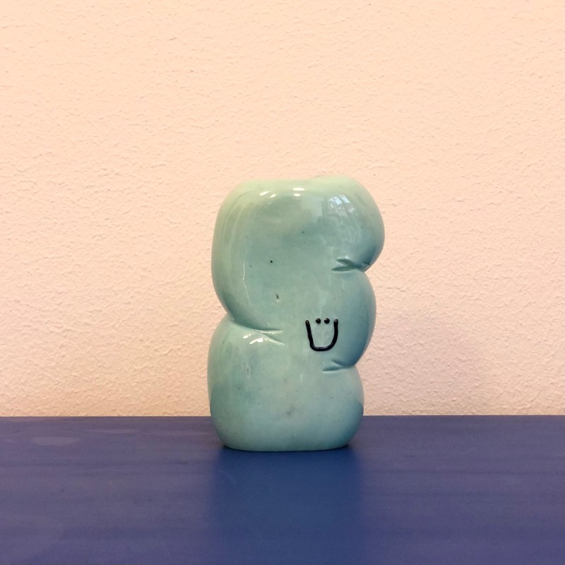 """Happy Intestine"" candle holder by Rasmus Nossbring, turquoise (6)"