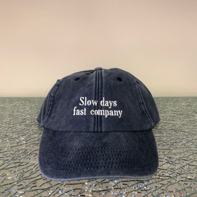 Hat, Slow days fast company, washed out denim/white
