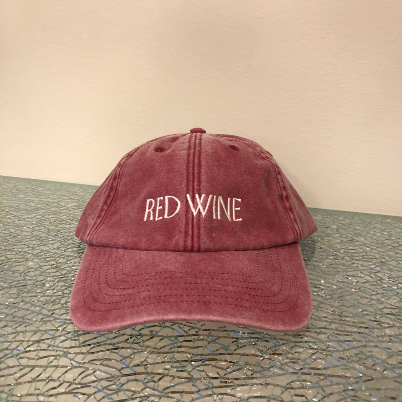Hat, Red Wine, washed out red/white