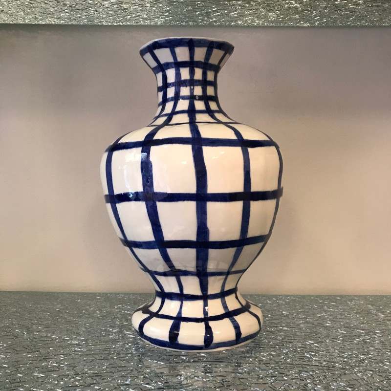 Ceramic white vase with blue checks by Caroline Harrius