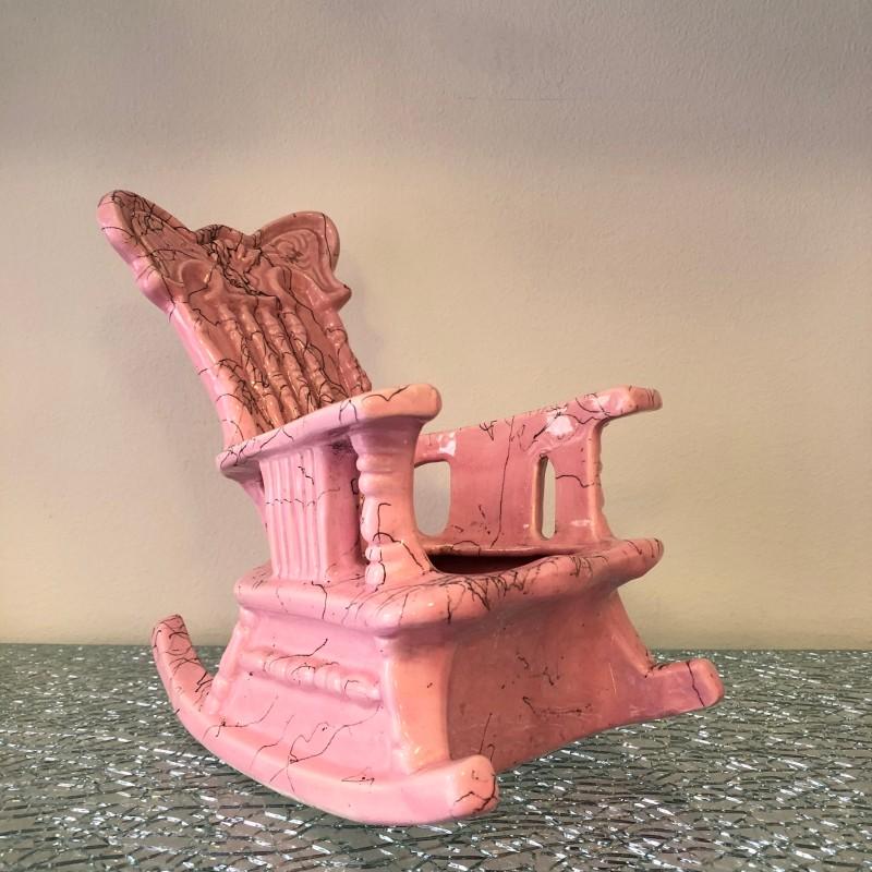 Pink ceramic rocking chair pot