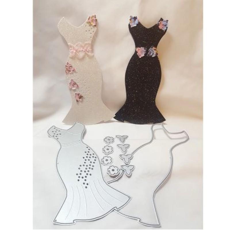 Nicole - Elegant Party Dress with Flowers Metal Cutting Dies