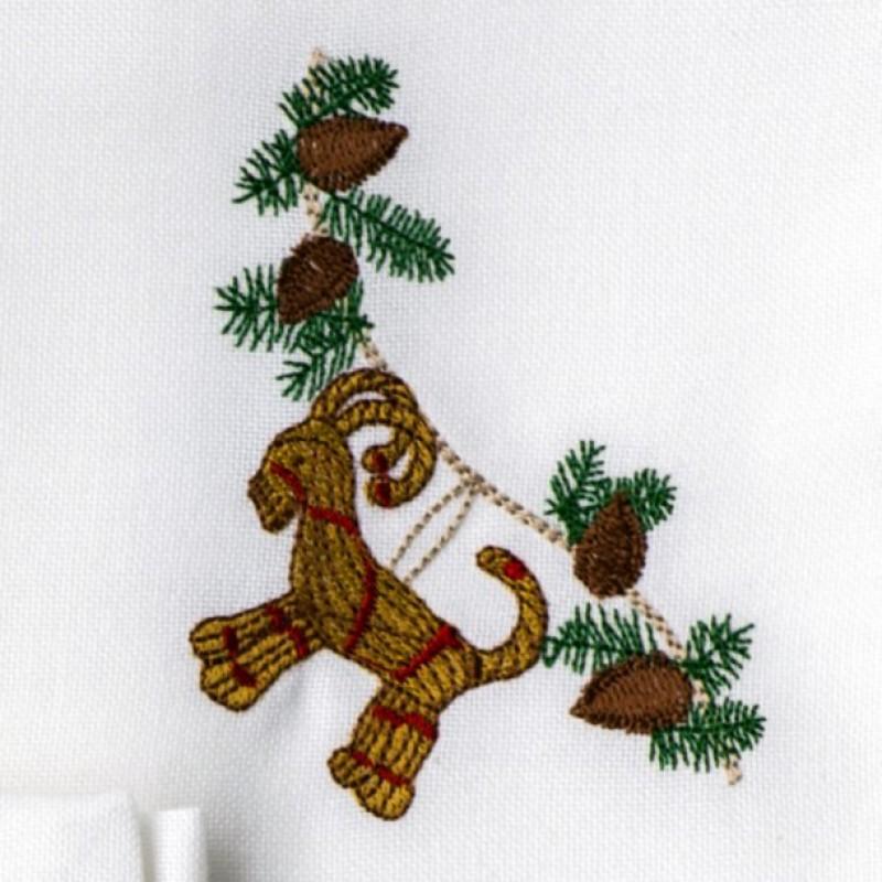 Stof serviet med julebuk