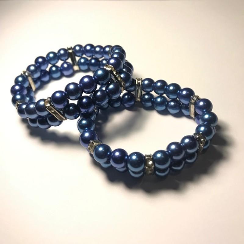 Dubbelt Blått Armband
