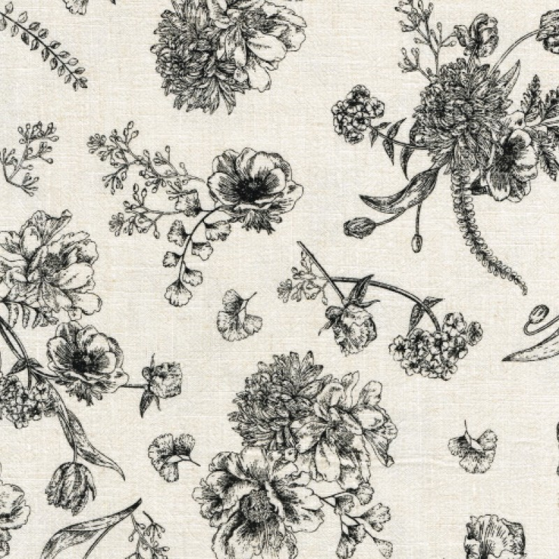 Viscose, lin. Washed printed Flora