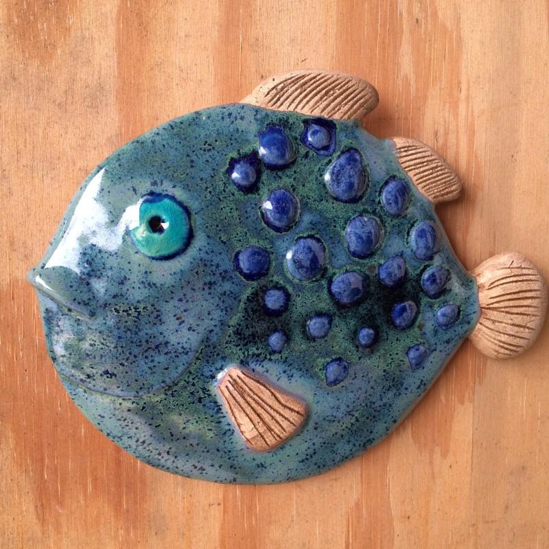 Fisk, blå kuglefisk, 22 cm