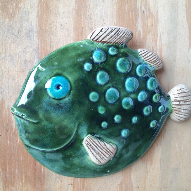 Fisk. Grøn kuglefisk. 22 cm