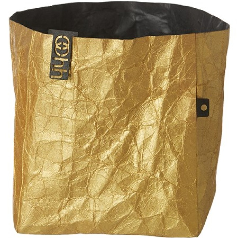 Oohh Metallic Creased Basket Large Gold