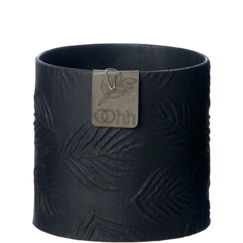 Oohh Collection Leaf pattern paper pot, Black