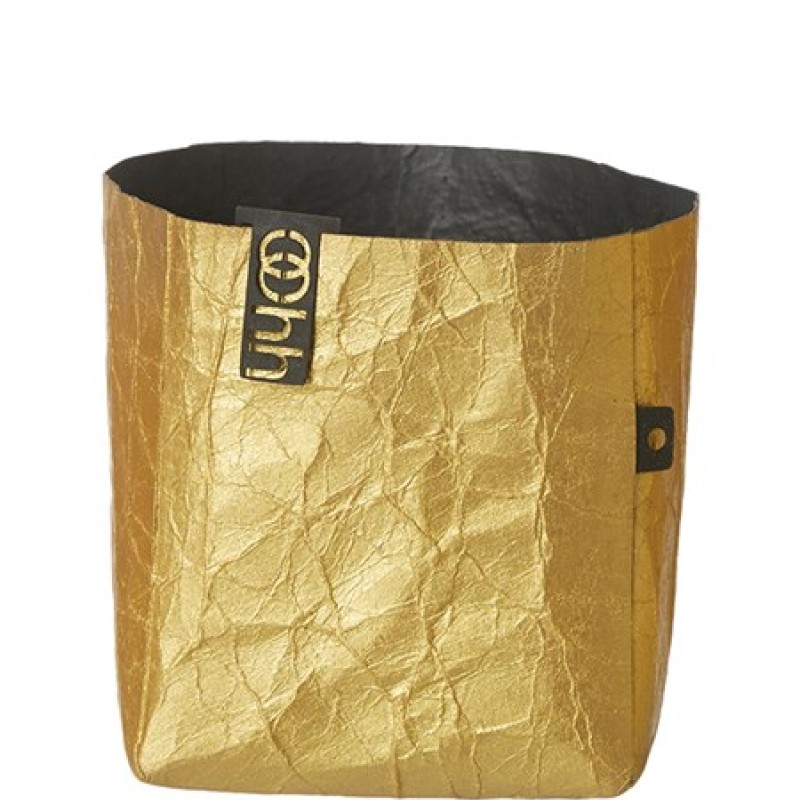 Oohh Metallic Creased Basket Medium Gold