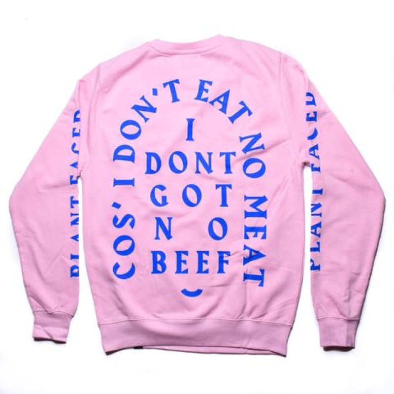 No Beef Sweater - Baby Pink x Electric Blue