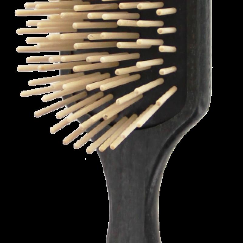 TEK Large paddle brush with long wooden pins, Black 4536