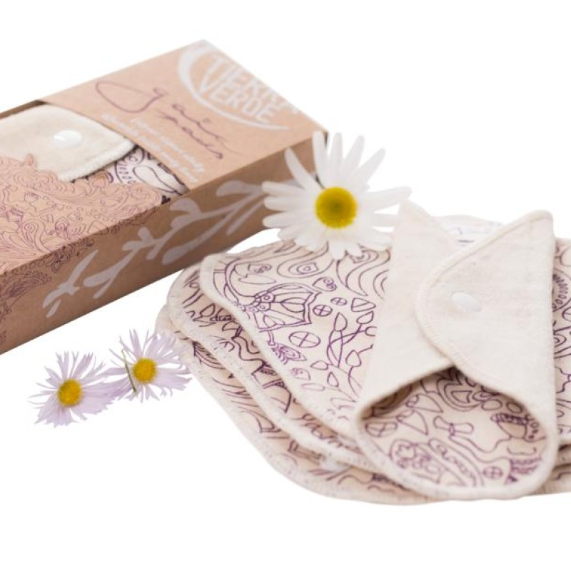 Gaia Pads – ekologiska bomullsbindor - lila - 4st