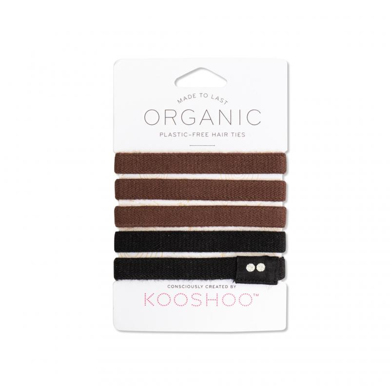 KOOSHOO Organic Hair Ties - Brown/Black 4536