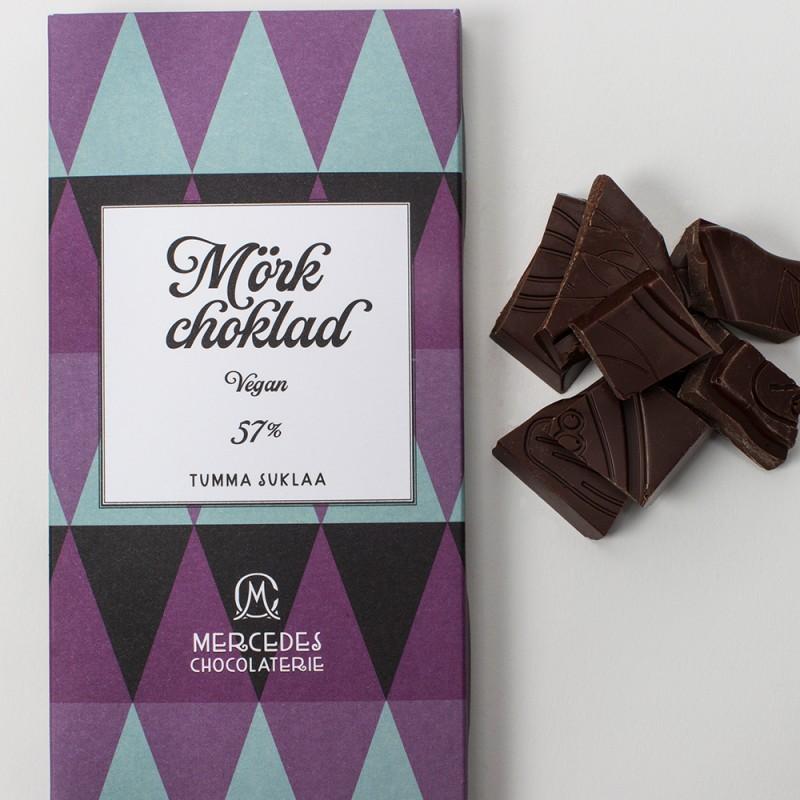 Mercedes chokladplatta - mörk choklad 57 % - vegan