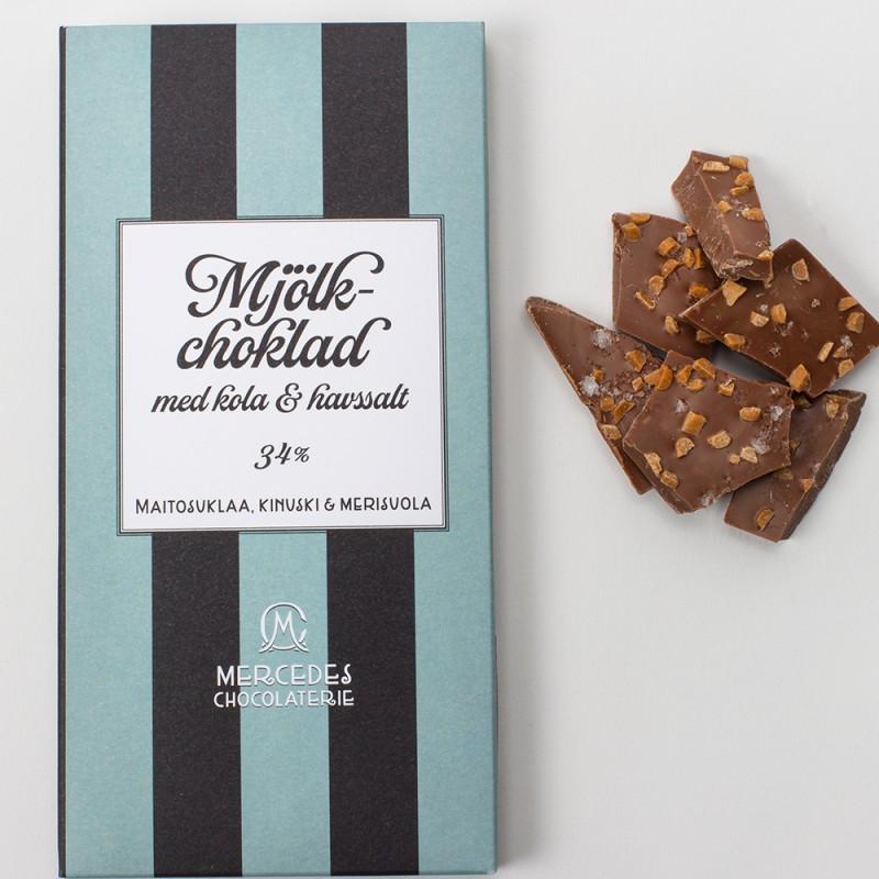 Mercedes chokladplatta - mjölkchoklad 34 % med havssalt & kola