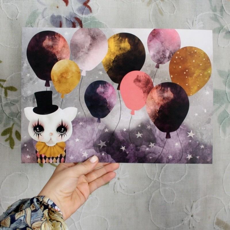 Dessin Design - Rosa ballong poster A4