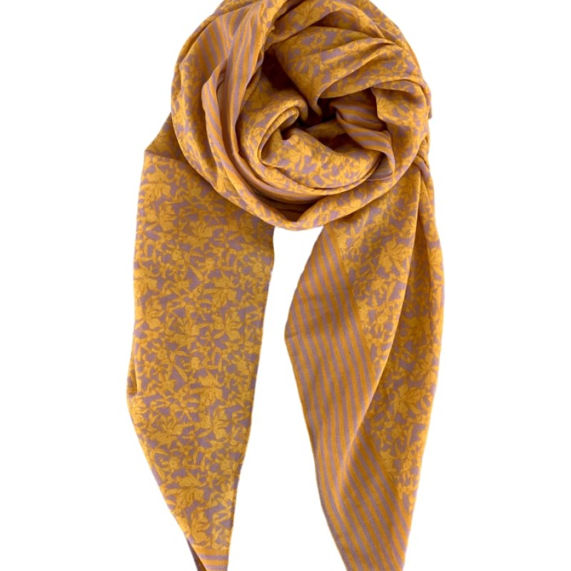 Black Colour - JASMINE scarf yellow/lavender