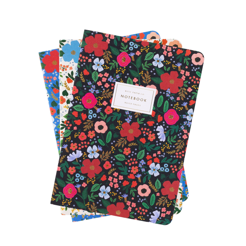 Rifle Paper Co - Set of 3 Wild Rose Stitched Notebook Set