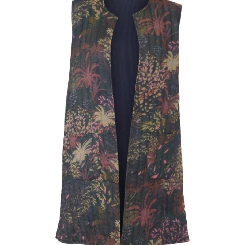Black Colour - JOANNA long quilted vest Bottle Green