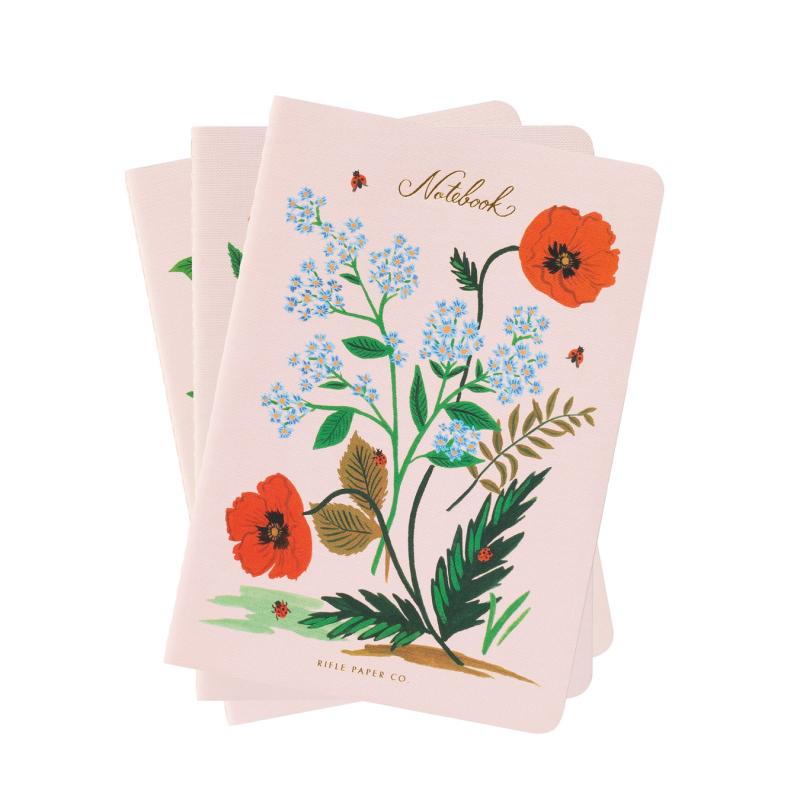 Rifle Paper Co - Set of 3 Botanical Stitched Notebook Set