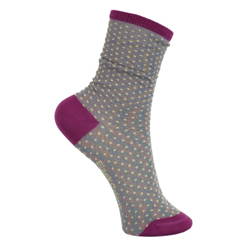 Black Colour - DIDI lurex sock lavender