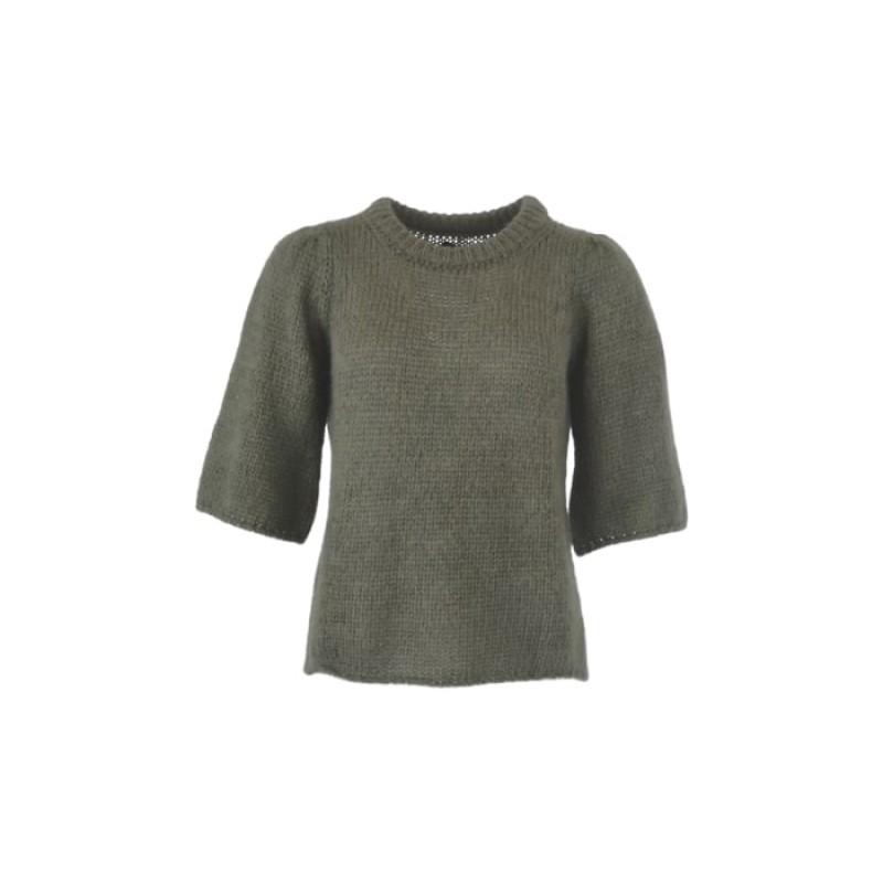 Black Colour - EDITH knit blouse ARMY