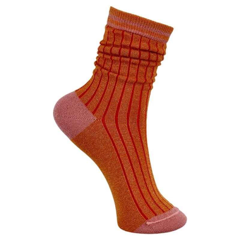 Black Colour - Candy Stripe sock orange