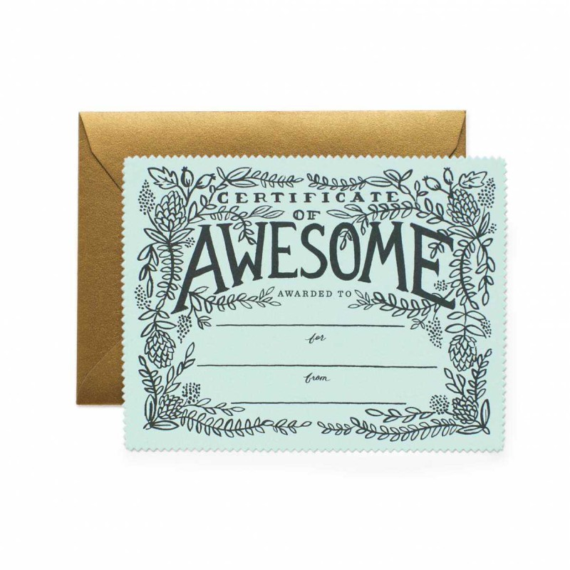 Rifle Paper Co - Certificate of Awesome Card