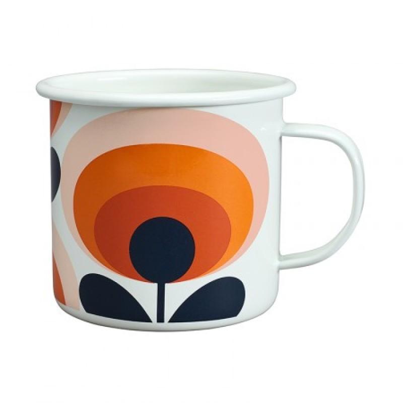 Orla Kiely - Emaljmugg Blomma Orange