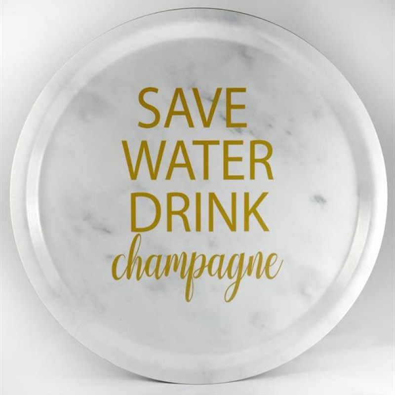 "Mellow Design - Bricka ""Save water drink champagne"""