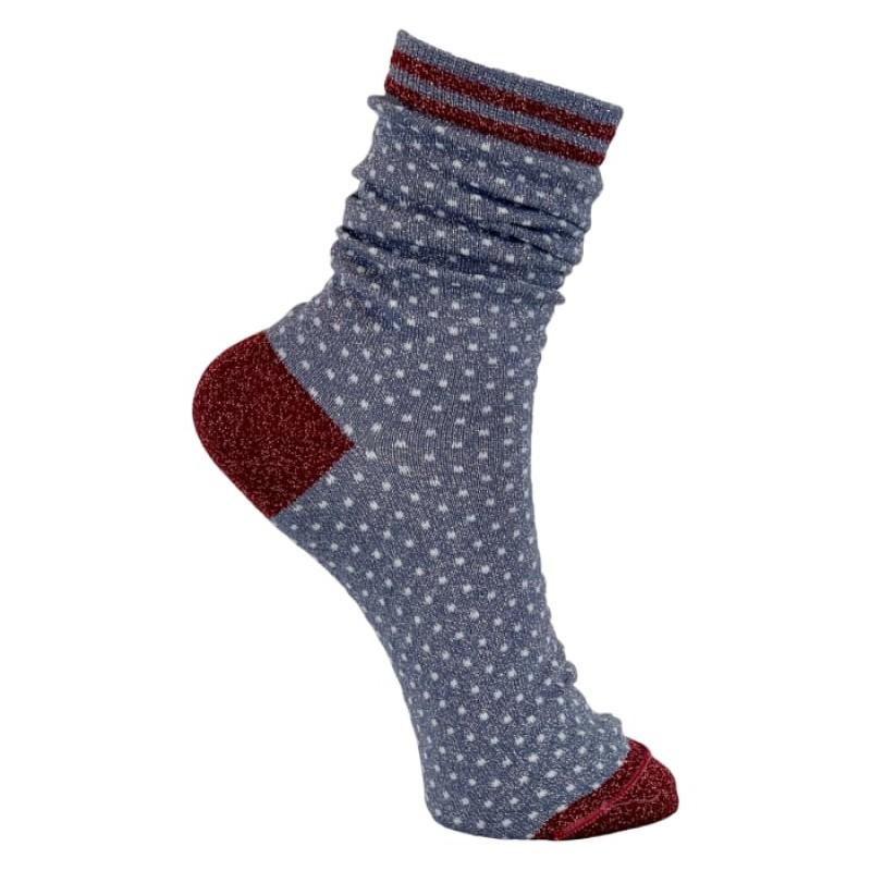 Black Colour - Lolly dot sock jeans blue