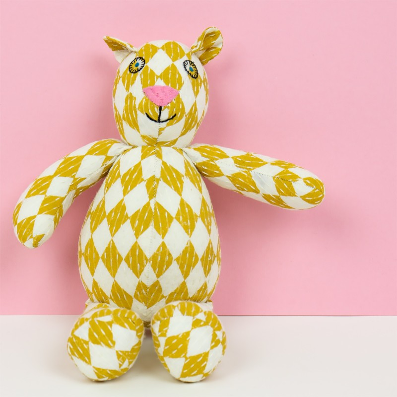 Afroart - Circus Teddy mjukdjur grå/gul REA 30%