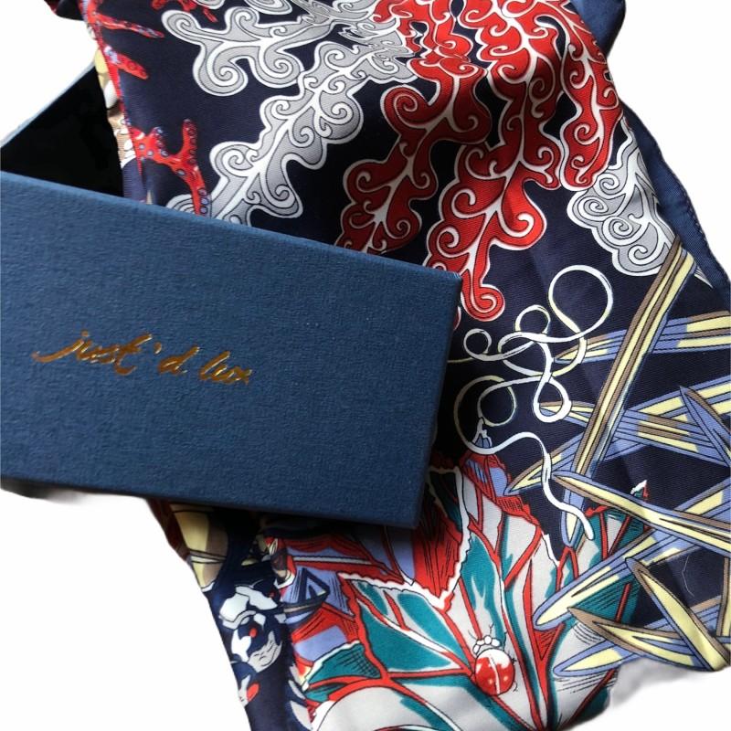 Just d lux - Satinscarf Dark blue/red