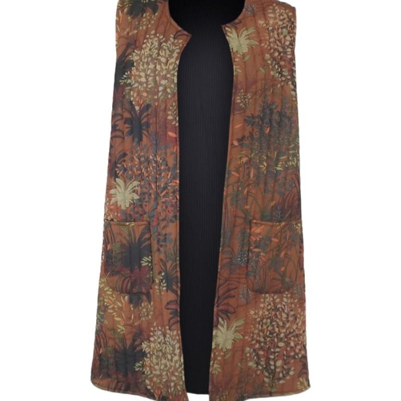 Black Colour - JOANNA long quilted vest Camel