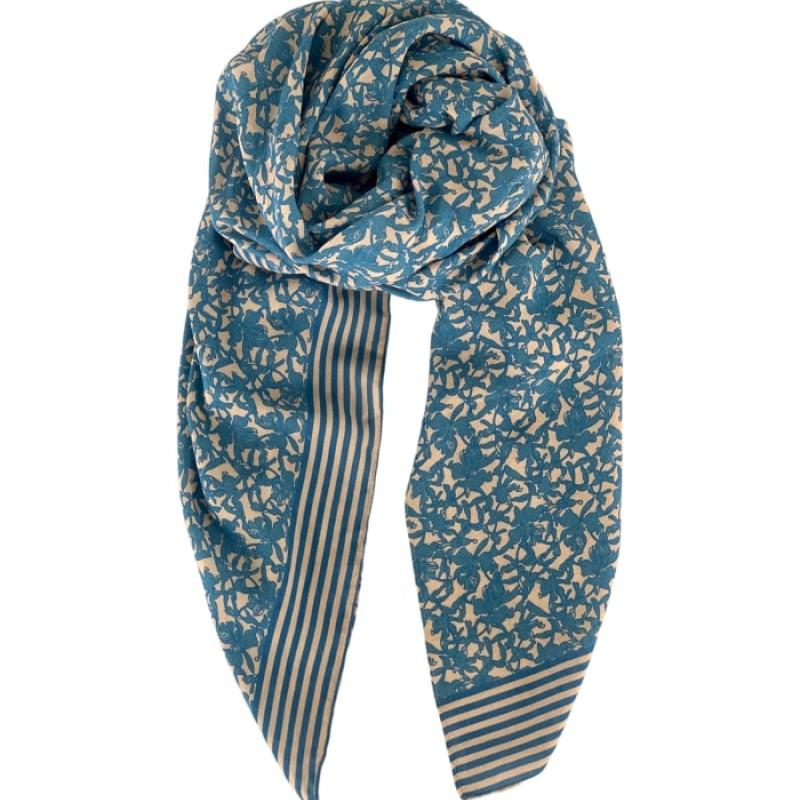 Black Colour - JASMINE scarf skyblue