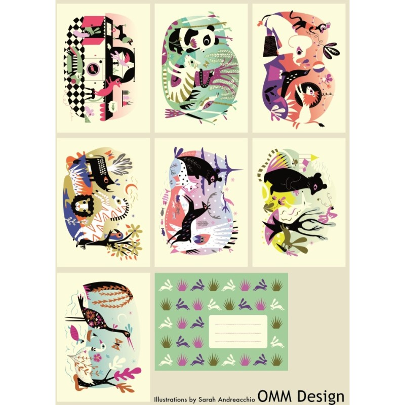 OMM Design - 7 Vykort Djur