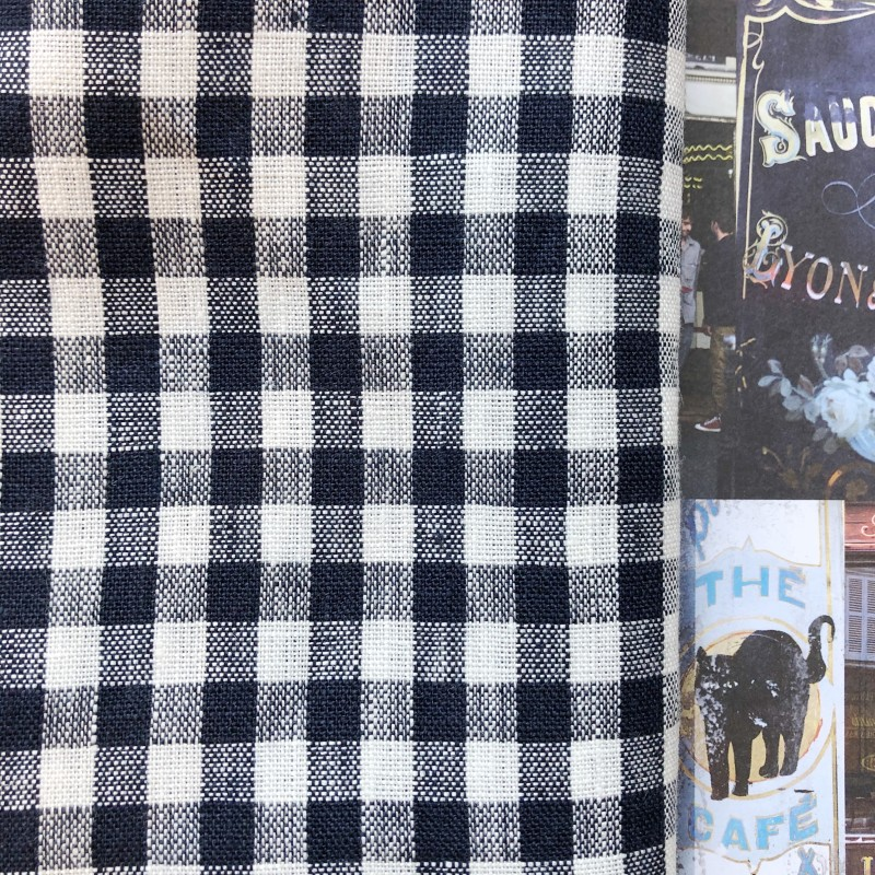Fog Linen Work / Viskestykke (Navy/White Big Plaid)